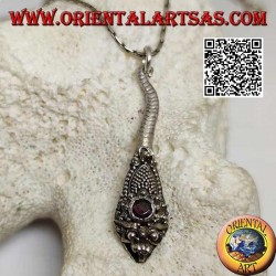 Silver pendant in the shape of a cobra with handmade garnet