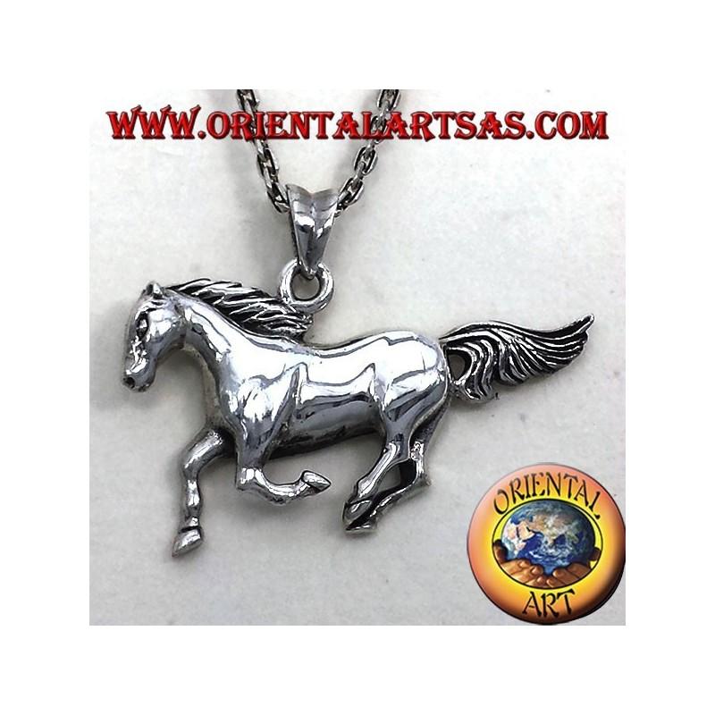 pendentif en argent course de chevaux
