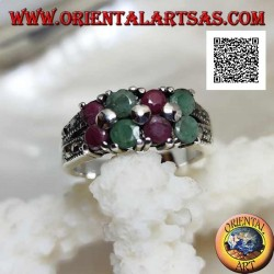 Silver ring with pairs of natural round rubies and emeralds set alternating and marcasite on the sides