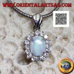 Silver pendant with oval harlequin opal set surrounded by zircons