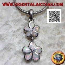 Silver pendant pair of 5-petaled flowers (wild strawberry) vertically with harlequin opal