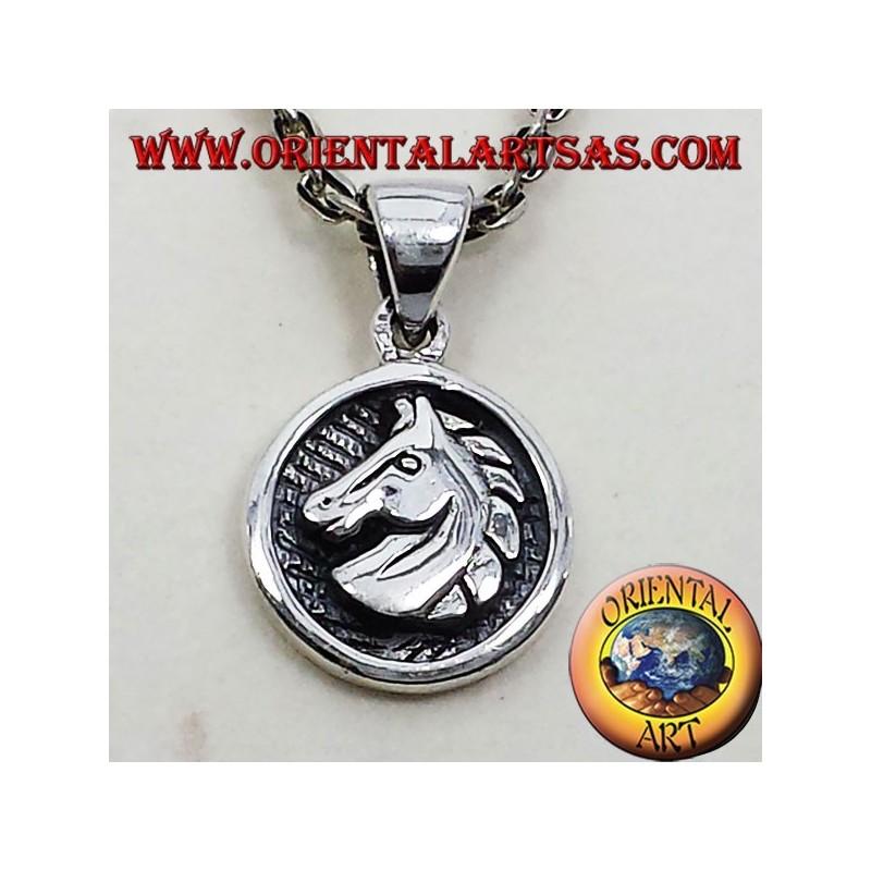 Pendentif médaille d'argent tête de cheval