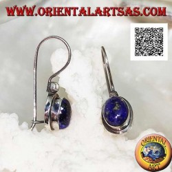 Silver pendant earrings with oval cabochon lapis lazuli on smooth setting with border