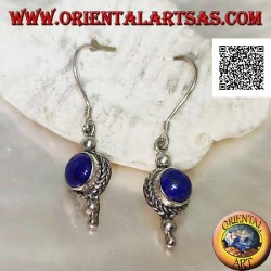 Silver pendant earrings with round lapis lazuli surrounded by weaving and two balls below