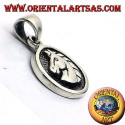 pendant medal silver horse head