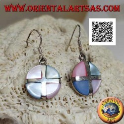Silver round pendant earrings with multicolor mother-of-pearl triangles divided by a cross