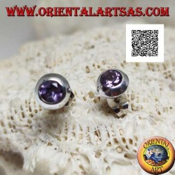Silver lobe earrings with natural round amethyst set flush with the edge