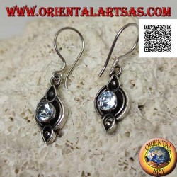 Silver earrings with natural round blue topaz on etched ethnic setting