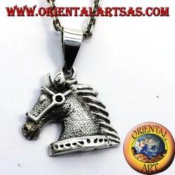 ciondolo testa di cavallo con briglie in argento