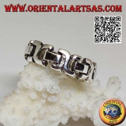 Anello in argento a fedina a catena rigida liscia con rettangoli
