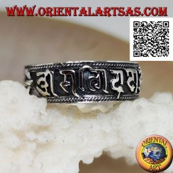 Silver band ring with Vajra and Mantra Oṃ Maṇi Padme Hūṃ