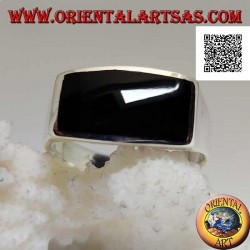 Silver ring with horizontal rectangular onyx flush with edge on smooth frame