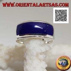 Silver ring with horizontal rectangular lapis lazuli flush with double smooth raised edge