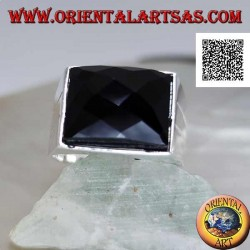 Silver ring with faceted rectangular curved onyx on smooth frame with two lateral lines