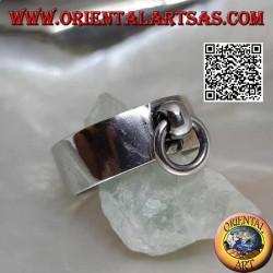 Anello in argento a fascia liscia da 8 mm con anellino mobile