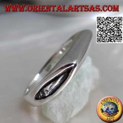 Smooth silver ring in the shape of an ax blade on the front