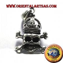 Pendentif Crâne avec la couronne d'argent