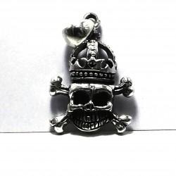 Ciondolo teschio con corona in argento