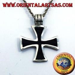 colgante de la cruz de los Templarios Negros, plata