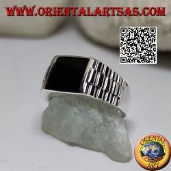 Silberring mit quadratischem Onyx und Uhrenglied an den Seiten
