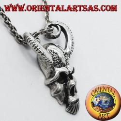 cráneo colgante con cuernos de RAM, plata