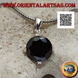 Ciondolo in argento con zircone spinello tondo incastonato sui 4 punti cardinali