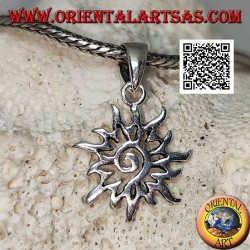 Silver spiral pendant in the openwork sun