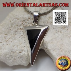 Inverted isosceles triangle silver pendant with flush-set onyx on a smooth setting