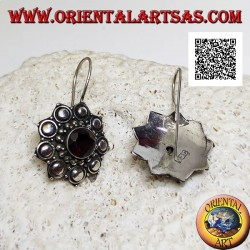 Silver flower pendant earrings with faceted round garnet surrounded by balls and discs