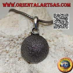 Hemispherical silver pendant composed of mosaic micro-spheres