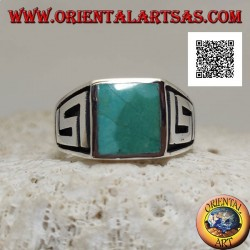 Silver ring with natural square turquoise and labyrinth on the sides (30)