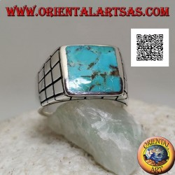Silver ring with rectangular natural turquoise and small squares on the sides (22)