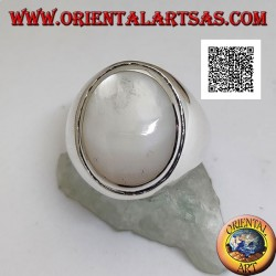 Silver ring with oval cabochon mother of pearl with raised edge on a smooth setting
