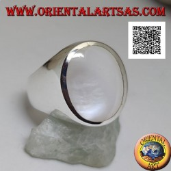 Silver ring with large oval mother-of-pearl flush with the edge on a smooth setting