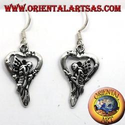 Boucles d'oreilles fée coeur argent