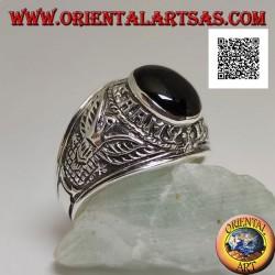 """Silberner Ring mit ovalem Cabochon-Onyx mit dem Logo der """"United States Army"""" (US Army)"""