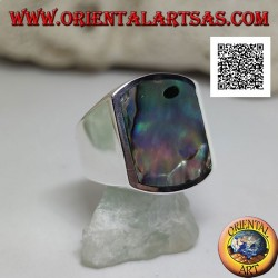 Silver ring with rectangular paua shell (abalone) curved on two sides flush with the edge on a smooth setting