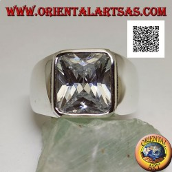 Silver ring with rectangular white zircon edged on a smooth setting