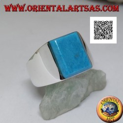 Silver ring with raised rectangular turquoise on smooth frame