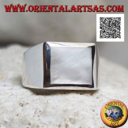 Silver ring with square mother-of-pearl flush with a thick edge on a smooth setting