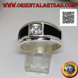 Silver ring with white square zircon and onyx trapezoids on the sides