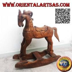 Cavallo a dondolo in legno di Suar (massello), colore naturale