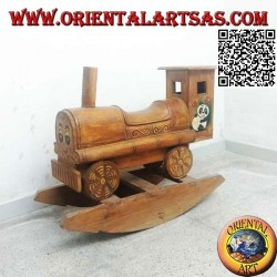 Rocking train with panda in Suar wood (solid), hand painted
