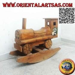 Trenino a dondolo con panda in legno di Suar (massello), dipinto a mano