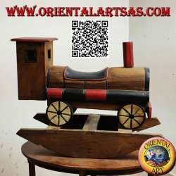 Colored rocking train in Suar wood (solid), hand painted