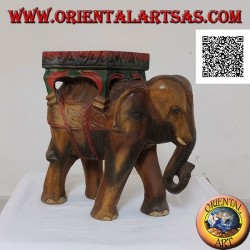 Indian elephant sculpture with canopy on top of a single block of hand painted suar wood  40 cm