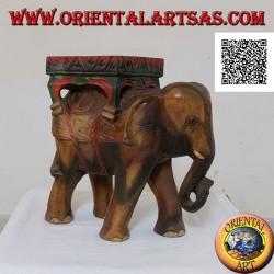 Sculpture d'éléphant indien avec auvent sur un seul bloc de bois de suar peint à la main 40 cm