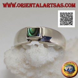 Silver ring with rectangular abalone (paua shell) flush with the joint edge of a smooth band