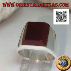 Silver ring with rectangular carnelian superimposed on a smooth setting