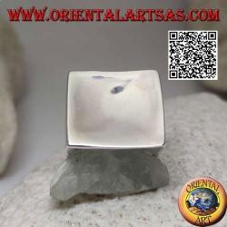 Anillo de plata lisa con cuadrado cóncavo grande de 22 mm